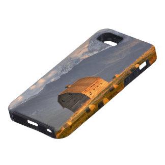 Granero viejo enmarcado por las balas de heno y dr iPhone 5 cobertura