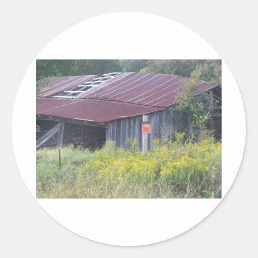 granero viejo (Oklahoma) Pegatina Redonda