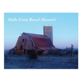 Granero viejo P1000451, hola de Missouri rural Tarjetas Postales