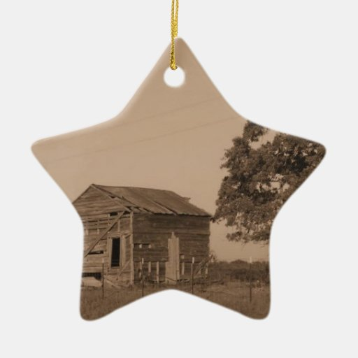 Granero viejo rústico adorno de cerámica en forma de estrella
