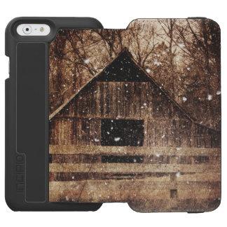 Granero viejo rústico en invierno funda billetera para iPhone 6 watson