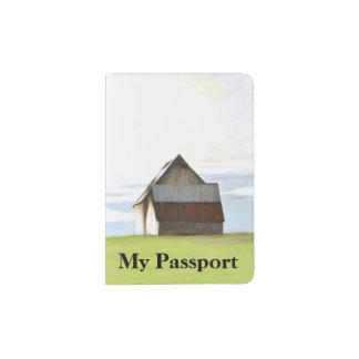 Granero viejo rústico porta pasaporte
