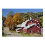 Granero y camino rurales clásicos, montaña blanca cojinete