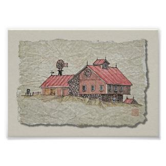 Granero y molino de viento de banco arte fotográfico
