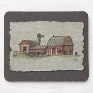Granero y molino de viento rojos de Amish Alfombrilla De Raton