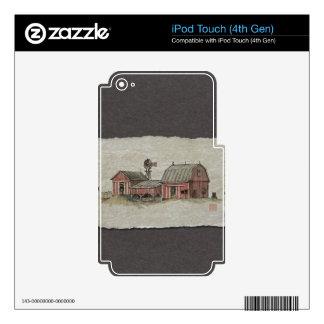 Granero y molino de viento rojos de Amish Calcomanías Para iPod Touch 4G