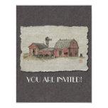 Granero y molino de viento rojos de Amish Invitación 10,8 X 13,9 Cm