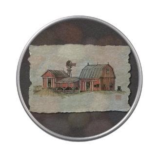 Granero y molino de viento rojos de Amish Jarrones De Caramelos
