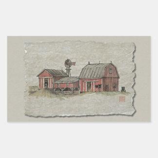 Granero y molino de viento rojos de Amish Rectangular Altavoces