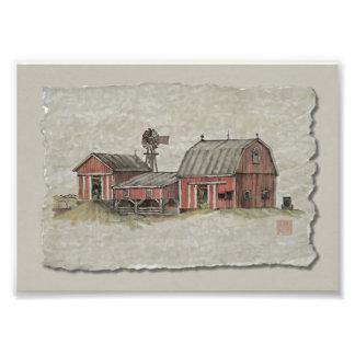 Granero y molino de viento rojos de Amish Impresión Fotográfica