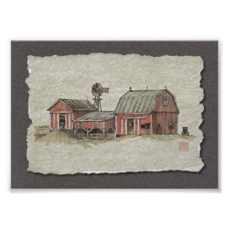 Granero y molino de viento rojos de Amish Fotos