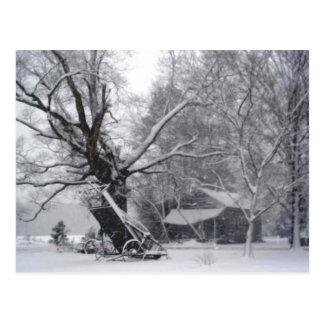 Granero y roble viejos en foto rural de la nieve tarjeta postal