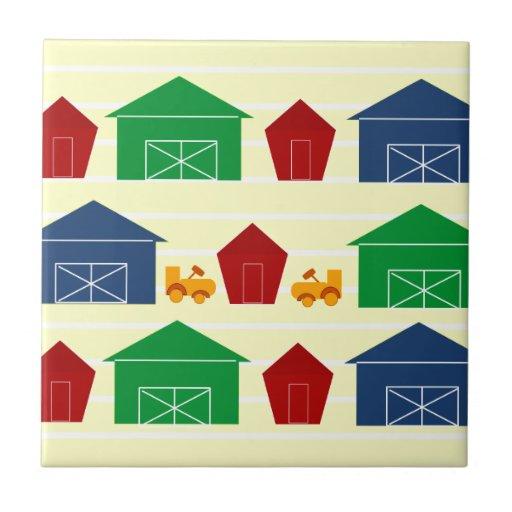 Graneros del país en rayas azulejo cuadrado pequeño