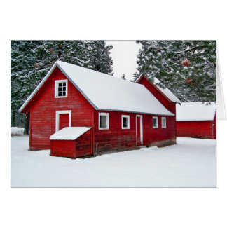 Graneros rojos en nieve felicitaciones