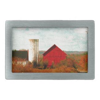 Graneros rojos y blancos en caída hebilla cinturon rectangular