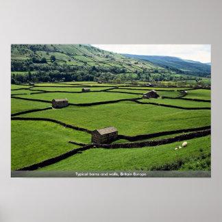 Graneros y paredes típicos Gran Bretaña Europa Poster