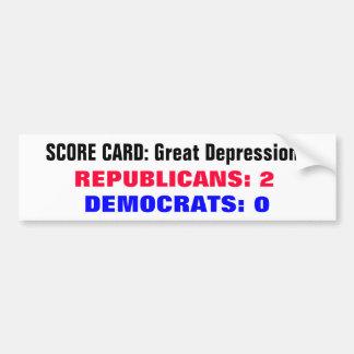 Granes Depresiones de la tarjeta de puntuación Pegatina De Parachoque