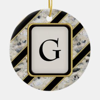 Granite & Gold Ceramic Ornament