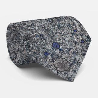 Granite Gray Rock Texture with Blue Details Tie