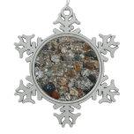 Granite Pebbles in Tenaya Lake Yosemite Nature Snowflake Pewter Christmas Ornament