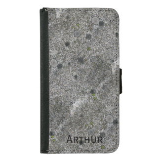 Granite Rock Grey with Green Moss and Name