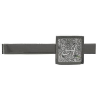 Granite Rock Grey with Initial Gunmetal Finish Tie Bar
