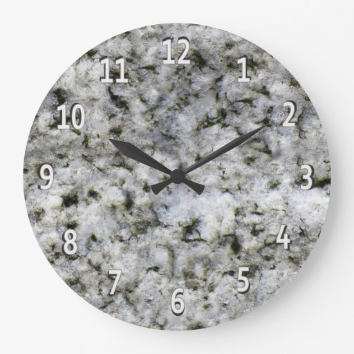 Large White Granite Rock : Granite rock white with digits large clock zazzle