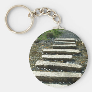 Granite Stepping stones across a river Keychain