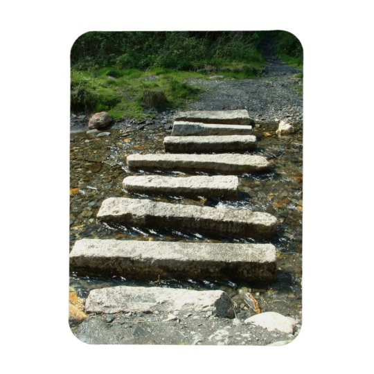 Granite Stepping stones across a river Magnet