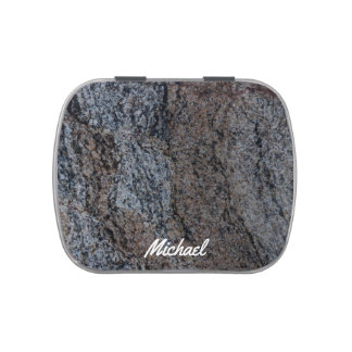Granite stone red black texture candy tins