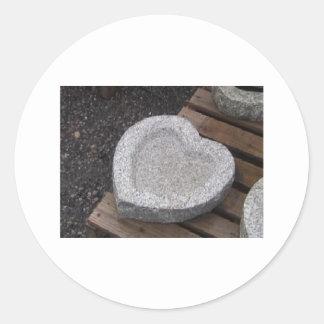 granito esculpido de los cuencos del shap del pegatina redonda