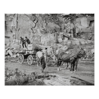 Granito Quarry, 1908 de Nueva Inglaterra Póster
