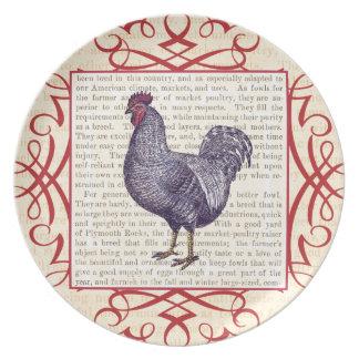 Granja avícola del vintage del gallo de Plymouth R Plato