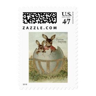 Granja coloreada del huevo del conejito de pascua timbres postales