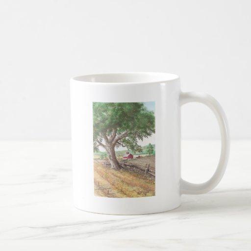Granja con el granero rojo tazas de café