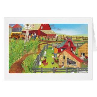 granja con los pollos tarjeta de felicitación