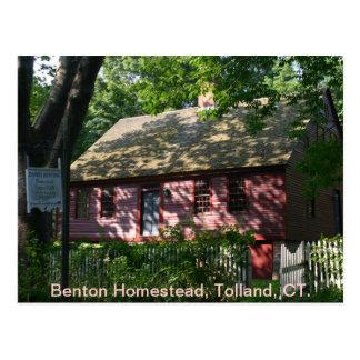 Granja de Benton, Tolland, CT. Tarjeta Postal