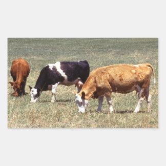 Granja de ganado pegatina rectangular