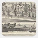 Granja de la huerta, casa de campo de Somerville Pegatina Cuadrada