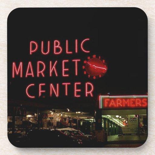 Granja de la noche WA de Seattle del mercado de lu Posavasos De Bebidas