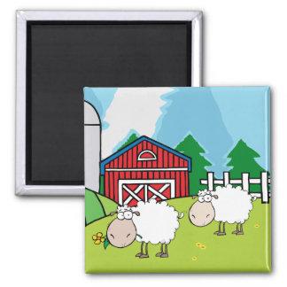 Granja de las ovejas imán cuadrado