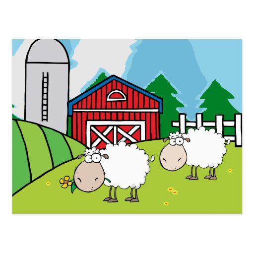 Granja de las ovejas tarjetas postales