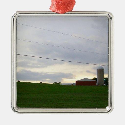 Granja de Minnesota en la foto grande del cielo de Ornamento Para Reyes Magos