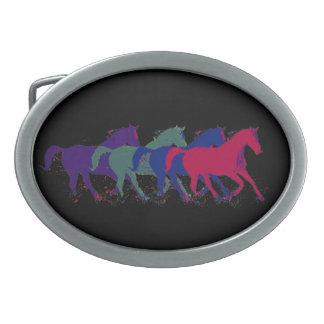 granja del caballo de los animales hebilla de cinturon oval