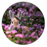Granja del conejo reloj redondo grande