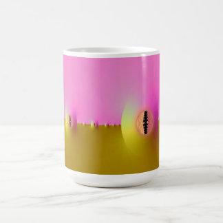 Granja del fractal en rosa y taza del oro