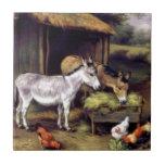 Granja del gallo del burro azulejo ceramica