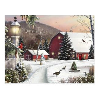 Granja del invierno del navidad del vintage tarjetas postales