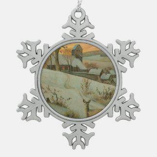 Granja del navidad del vintage con los ciervos adorno de peltre en forma de copo de nieve