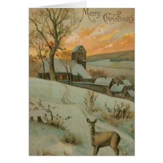 Granja del navidad del vintage con los ciervos tarjeta de felicitación